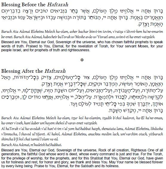 Blessings for the reading of the Haftarah